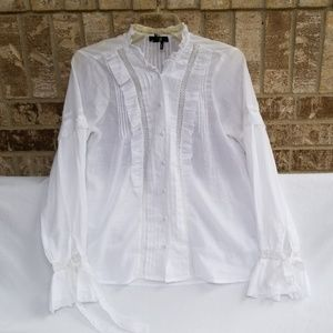 Paige White Button Up Blouse Top Size Small